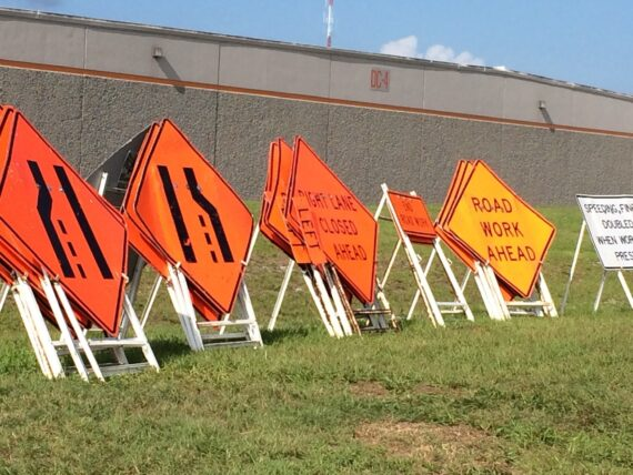 Stacks of road Construction signs