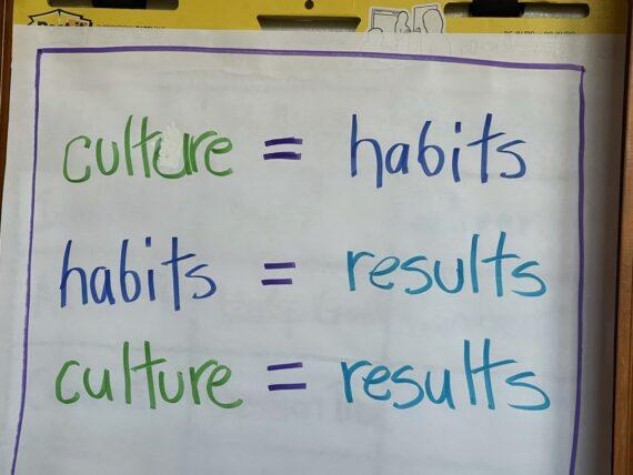 Flip chart notes about culture