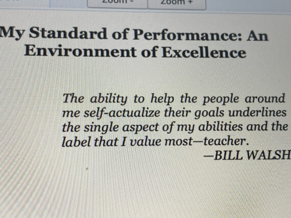 Bill Walsh quote about teaching