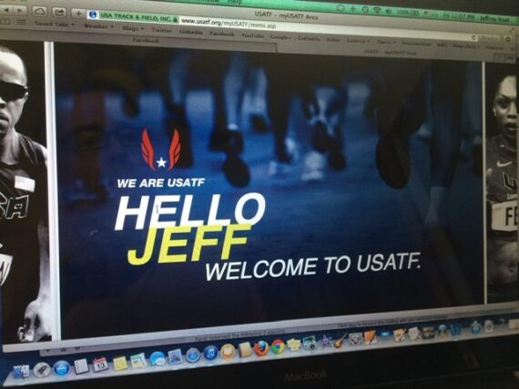 USATF website welcome page