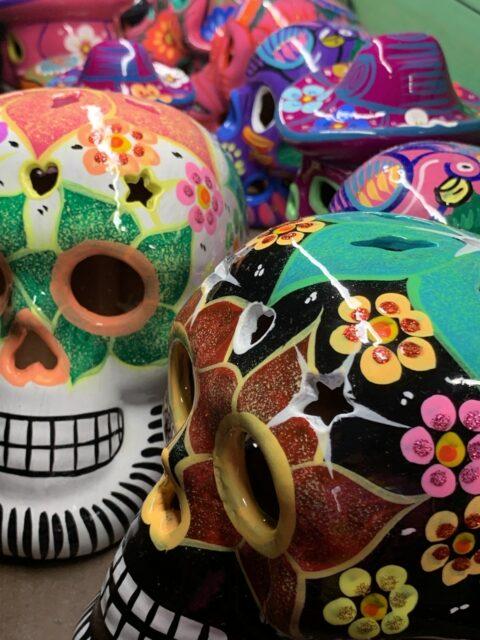 colorful fake skulls