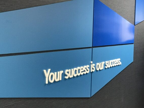 wall sign displaying success quote