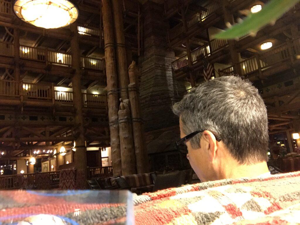 Disney author Jeff Noel writing at wilderness Lodge