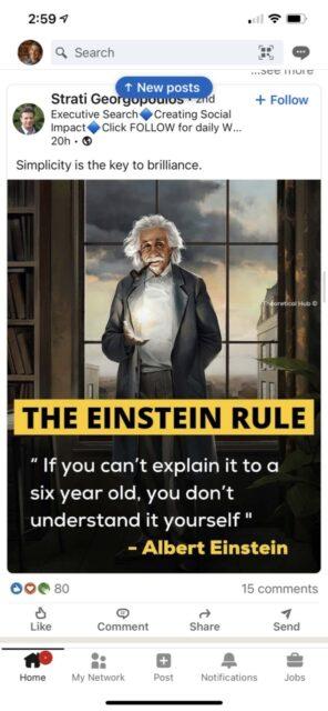 LinkedIn social media screen shot of Einstein quote