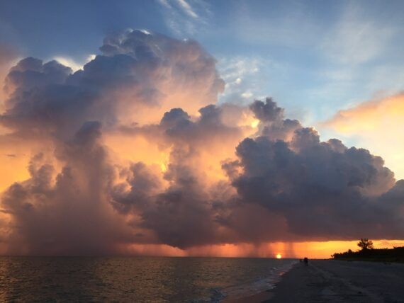 sunset and thunderstorm