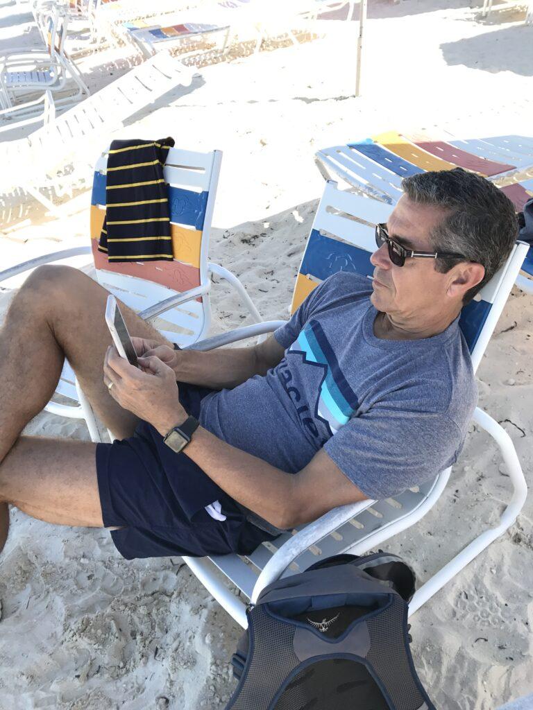 Disney employee engagement author Jeff Noel writing on Disney Island