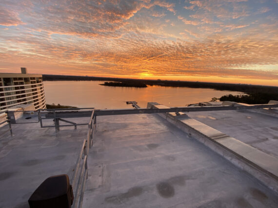 Sunrise from Disney's Contemporary Resort observation deck