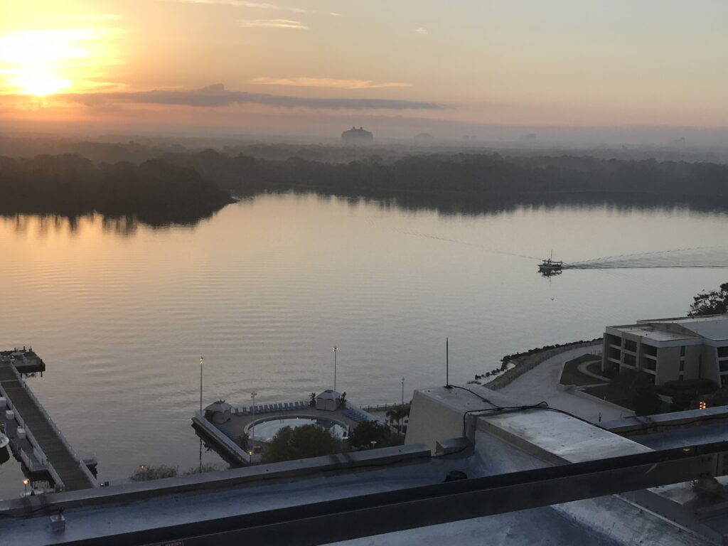 lake view at sunrise