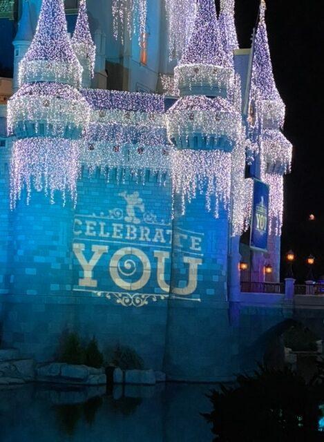 celebrate you message on Cinderella Castle